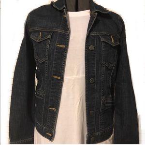 Eddie Bauer multi pckt blue jean jacket Sz XS EUC